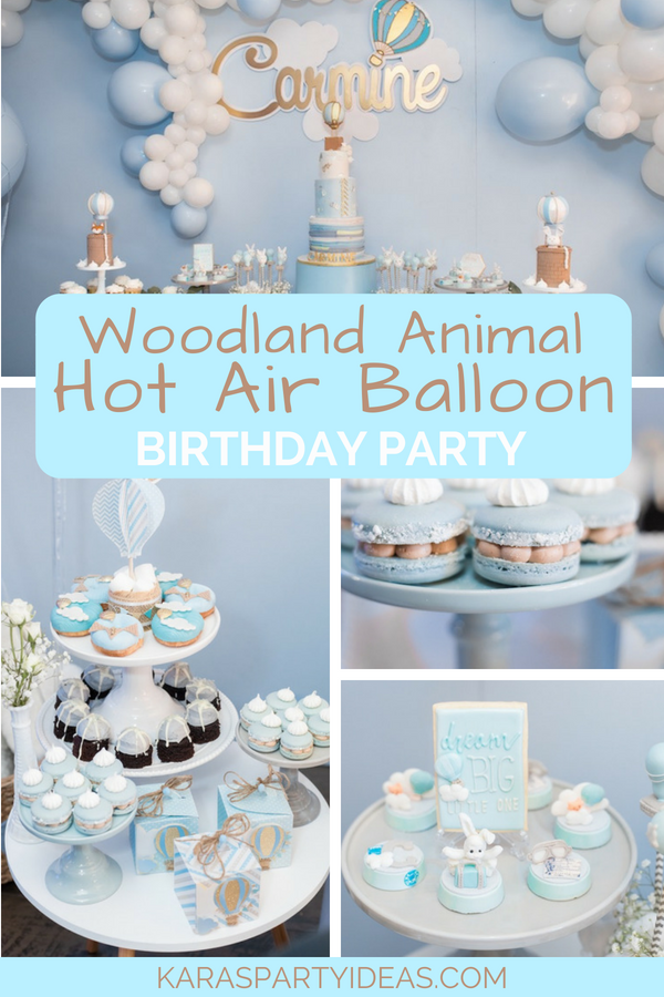 Woodland Animal Hot Air Balloon Birthday Party via Kara_s Party Ideas - KarasPartyIdeas.com