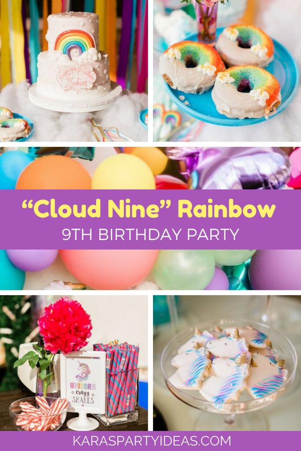 Cloud Nine Rainbow 9th Birthday Party Via Karas Ideas