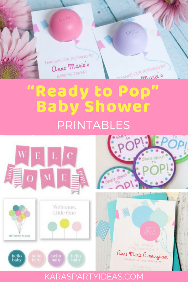 """Ready to Pop"" Baby Shower Printables via Kara's Party Ideas - KarasPartyIdeas.com"