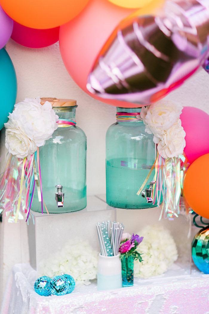 "Cloud & Rainbow Tasseled Beverage Dispensers from a ""Cloud Nine"" Rainbow 9th Birthday Party on Kara's Party Ideas | KarasPartyIdeas.com (18)"