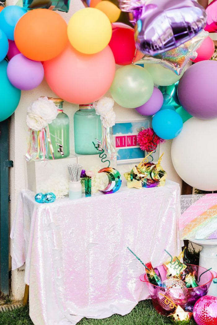 "Beverage Table from a ""Cloud Nine"" Rainbow 9th Birthday Party on Kara's Party Ideas | KarasPartyIdeas.com (17)"