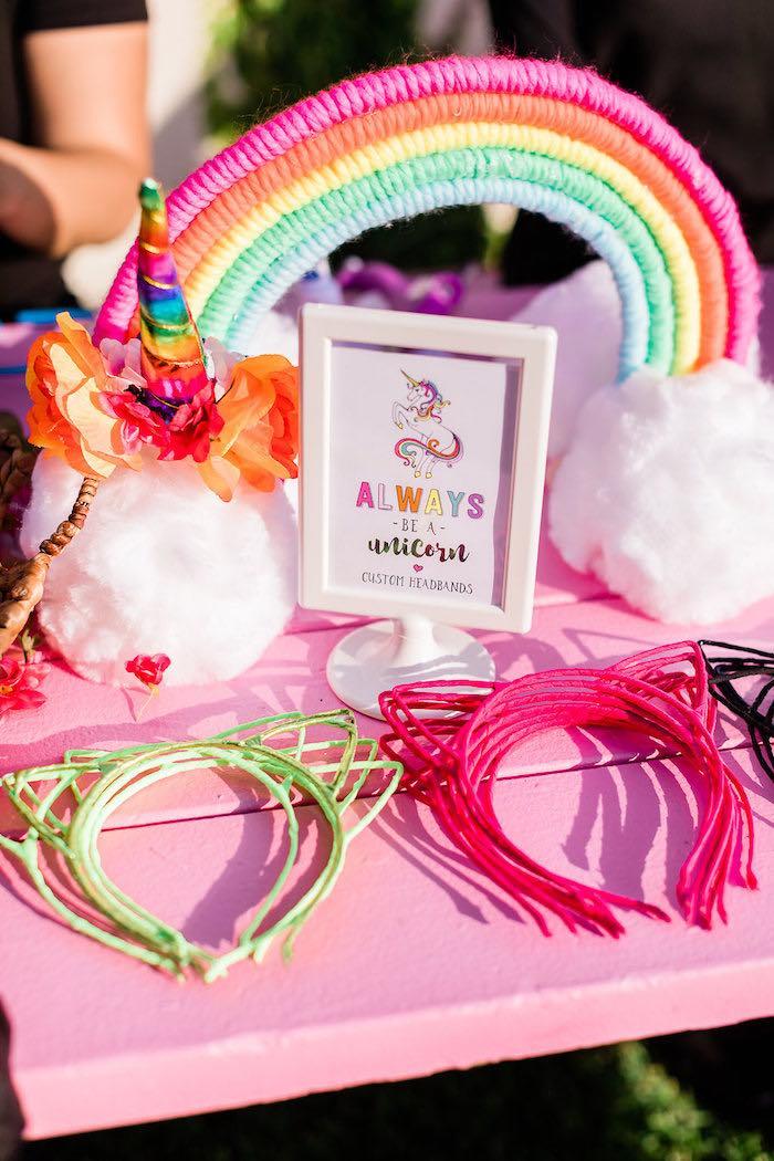 "Unicorn Headband Craft Station from a ""Cloud Nine"" Rainbow 9th Birthday Party on Kara's Party Ideas | KarasPartyIdeas.com (7)"