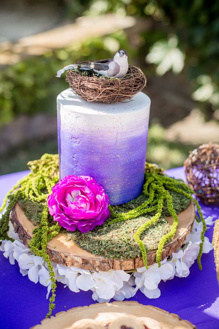 "Purple Ombre Garden Cake from a ""Fairies Welcome"" Birthday Party on Kara's Party Ideas 
