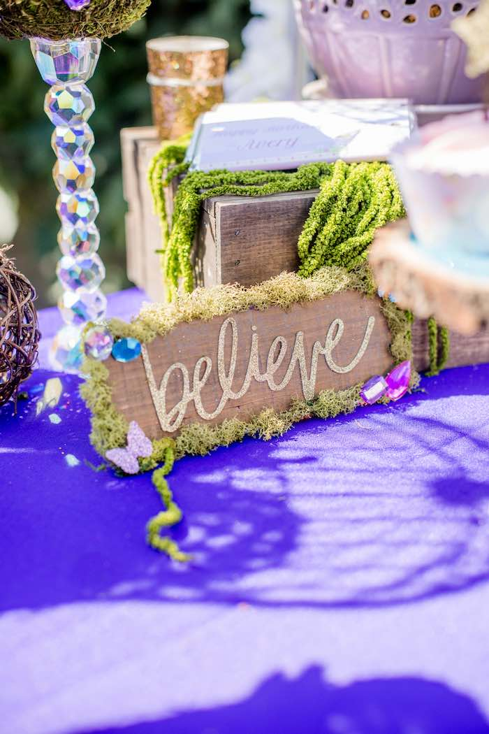 "Moss + Wood ""Believe"" Fairy Sign from a ""Fairies Welcome"" Birthday Party on Kara's Party Ideas 