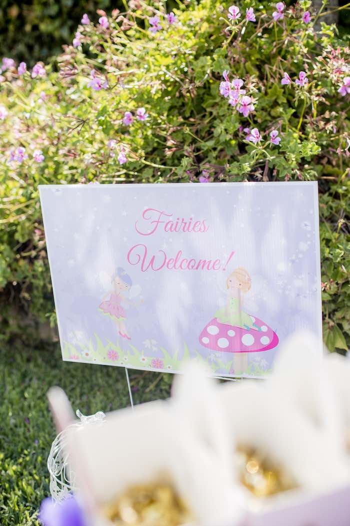 "Fairies Welcome Sign from a ""Fairies Welcome"" Birthday Party on Kara's Party Ideas 