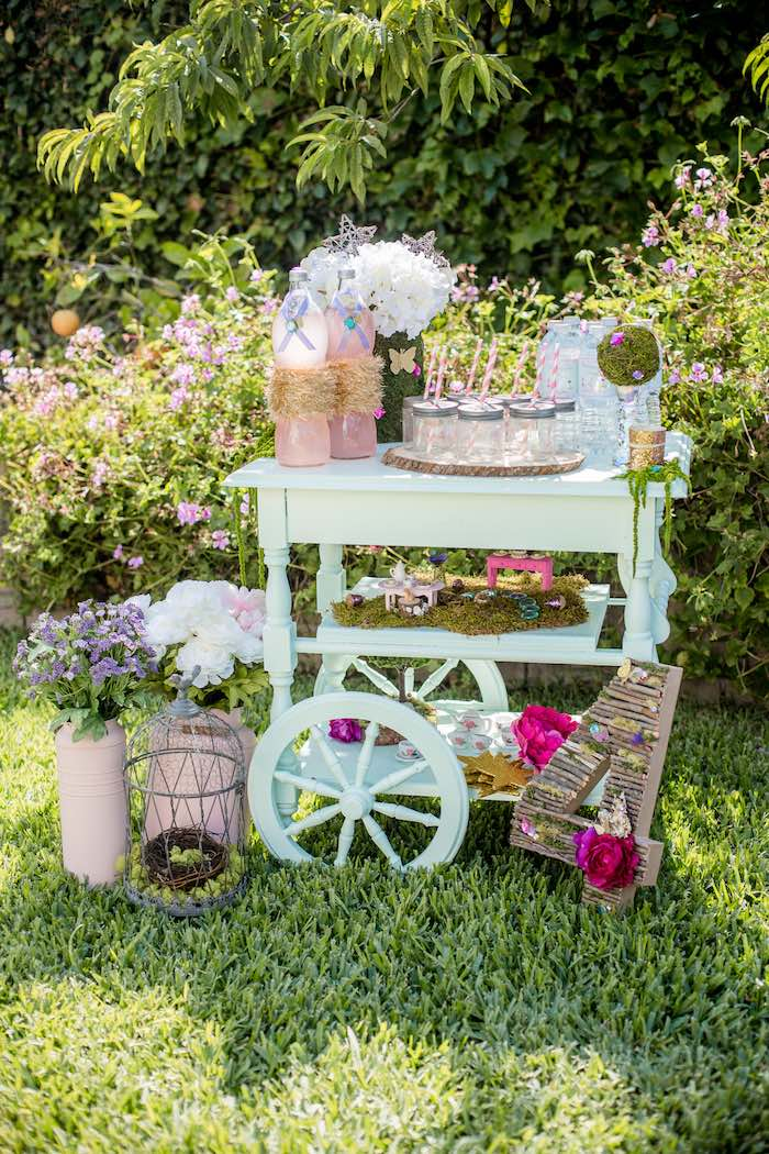 "Fairy Themed Beverage Cart from a""Fairies Welcome"" Birthday Party on Kara's Party Ideas 