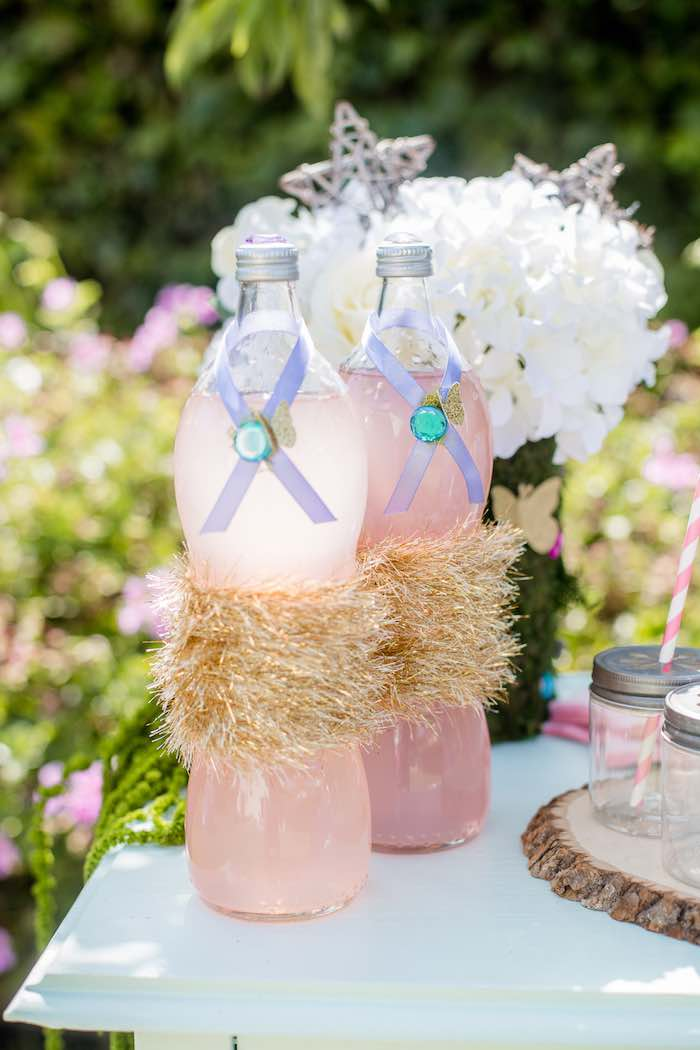 "Fairy-inspired Beverage Bottles from a ""Fairies Welcome"" Birthday Party on Kara's Party Ideas 