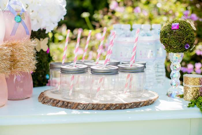 "Mason Jar Drink Glasses from a ""Fairies Welcome"" Birthday Party on Kara's Party Ideas 