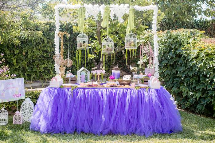 "Fairy Party Table from a ""Fairies Welcome"" Birthday Party on Kara's Party Ideas 