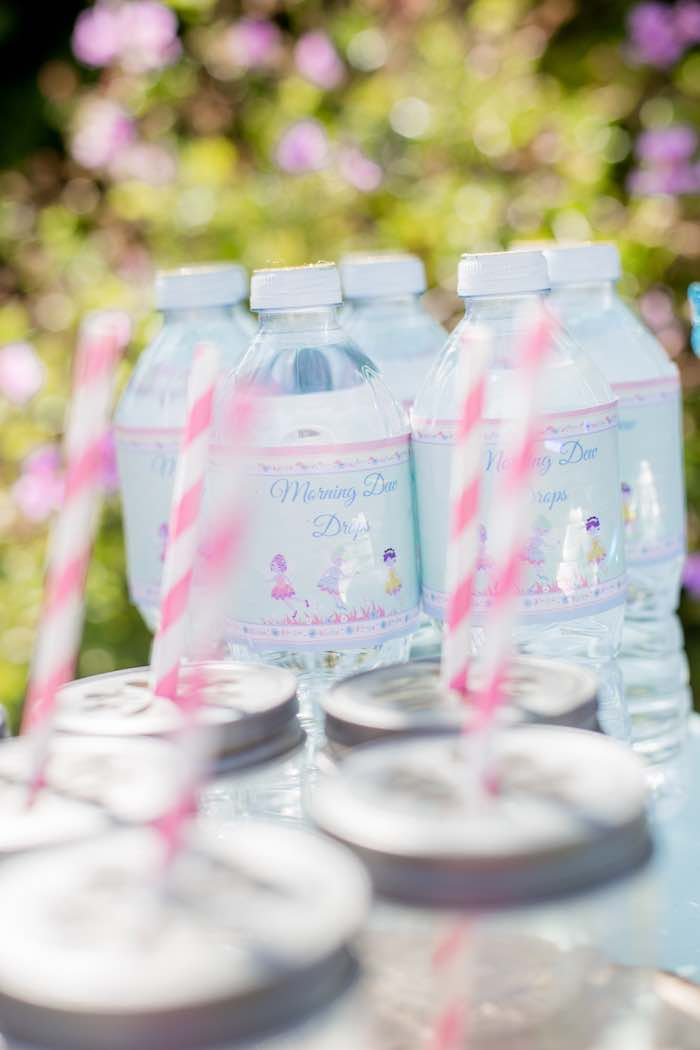 "Fairy Water Bottles from a ""Fairies Welcome"" Birthday Party on Kara's Party Ideas 