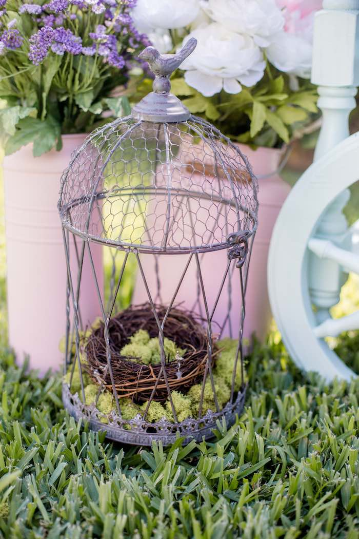 "Bird Cage Decoration from a ""Fairies Welcome"" Birthday Party on Kara's Party Ideas 