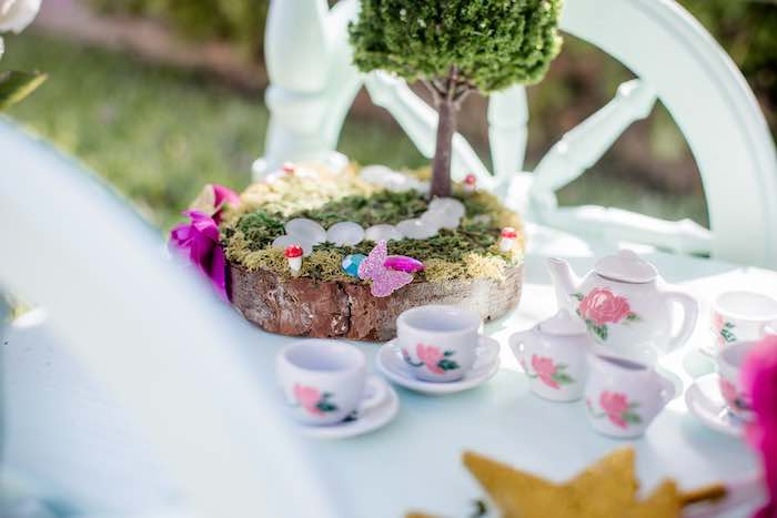 "Moss-covered Fairy Stump from a ""Fairies Welcome"" Birthday Party on Kara's Party Ideas 