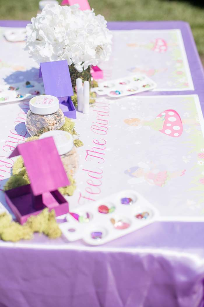 "Bird Feeder Activity Table from a ""Fairies Welcome"" Birthday Party on Kara's Party Ideas | KarasPartyIdeas.com (20)"