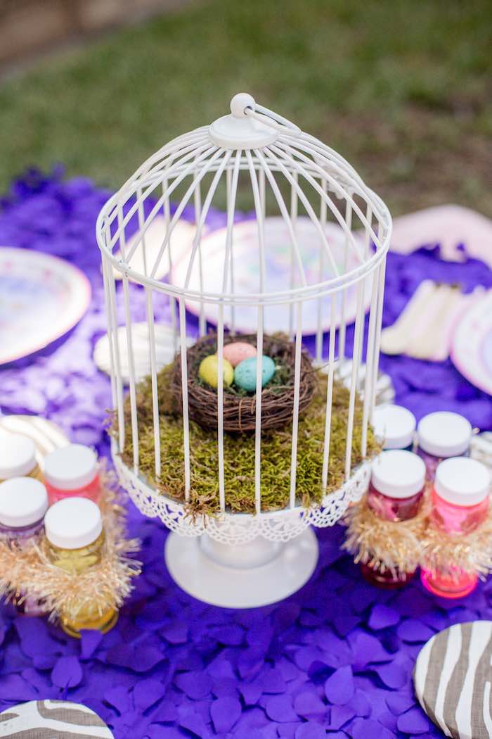"Bird Cage + Nest Centerpiece from a ""Fairies Welcome"" Birthday Party on Kara's Party Ideas 