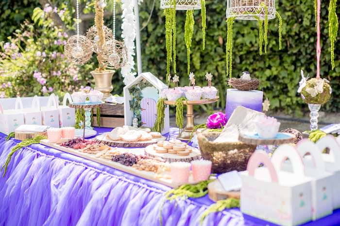 "Fairy Themed Party Table from a ""Fairies Welcome"" Birthday Party on Kara's Party Ideas 