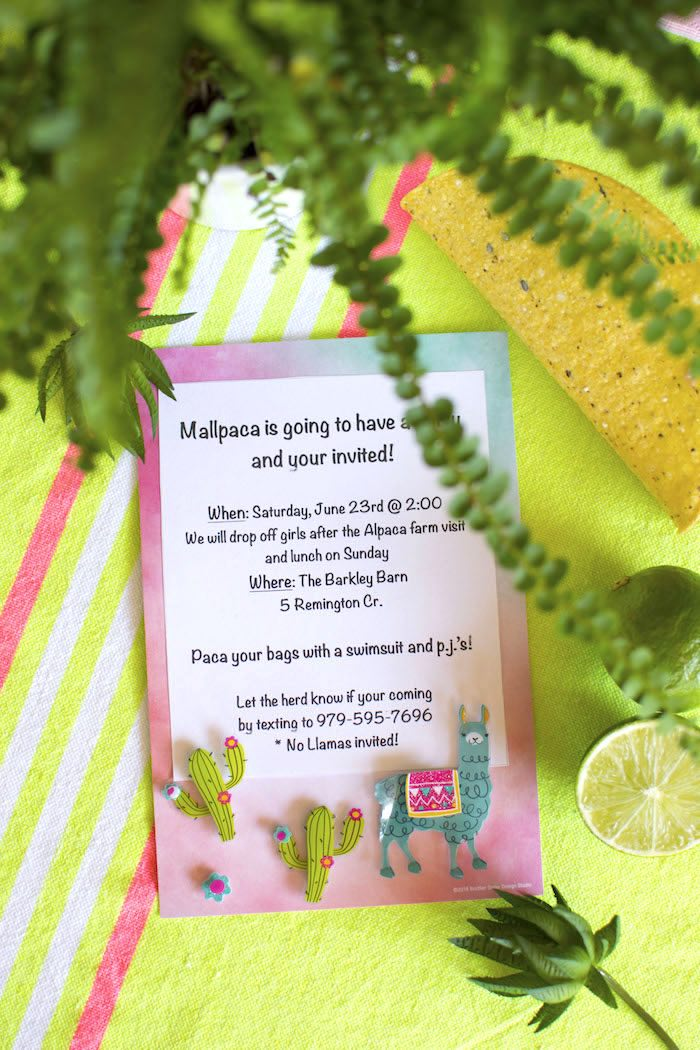Alpaca Party Invite from an Alpaca Birthday Fiesta on Kara's Party Ideas | KarasPartyIdeas.com (7)