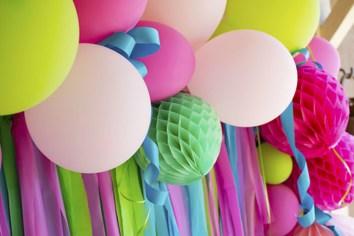 Tissue Ball + Balloon & Ribbon Tassel Backdrop from an Alpaca Birthday Fiesta on Kara's Party Ideas | KarasPartyIdeas.com (6)