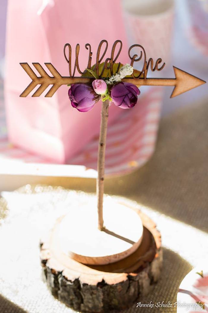 Floral Boho Arrow Centerpiece from a Boho African Safari Birthday Party on Kara's Party Ideas | KarasPartyIdeas.com (24)