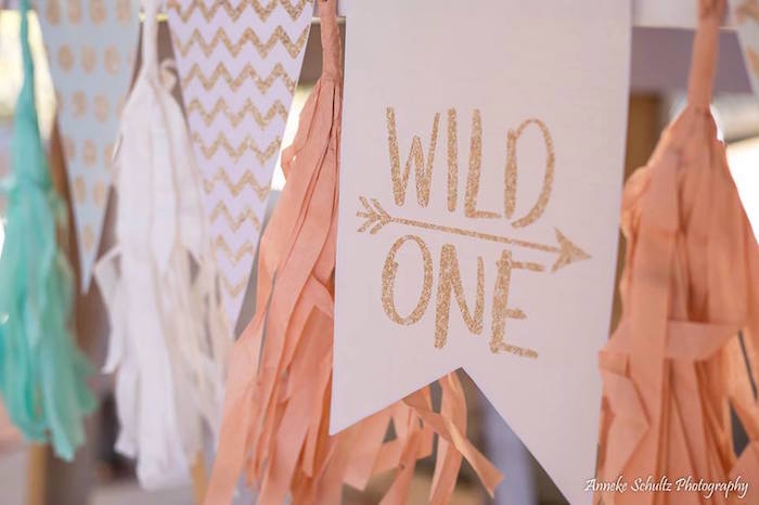 Wild One Tassel Party Banner from a Boho African Safari Birthday Party on Kara's Party Ideas | KarasPartyIdeas.com (12)