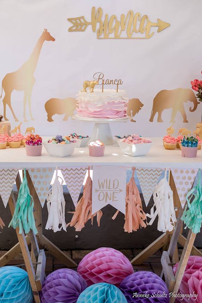 Glam Safari Table from a Boho African Safari Birthday Party on Kara's Party Ideas | KarasPartyIdeas.com (11)