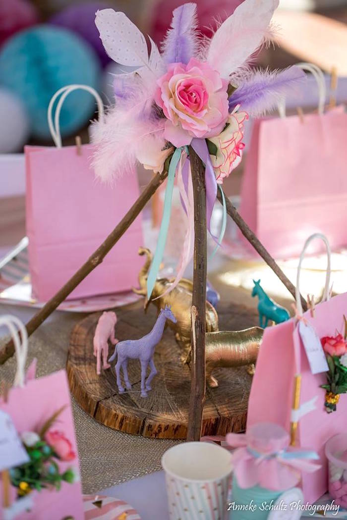 Boho Twig Teepee Centerpiece from a Boho African Safari Birthday Party on Kara's Party Ideas | KarasPartyIdeas.com (29)