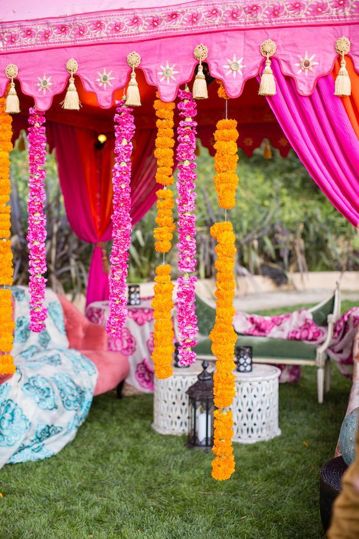 Floral Garland Curtain from a Boho Hippie Summer of Love Birthday Party on Kara's Party Ideas   KarasPartyIdeas.com (34)