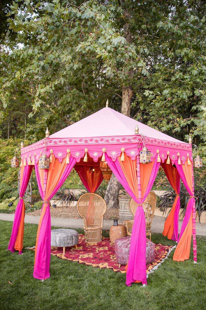 Bohemian Tent Lounge from a Boho Hippie Summer of Love Birthday Party on Kara's Party Ideas | KarasPartyIdeas.com (29)