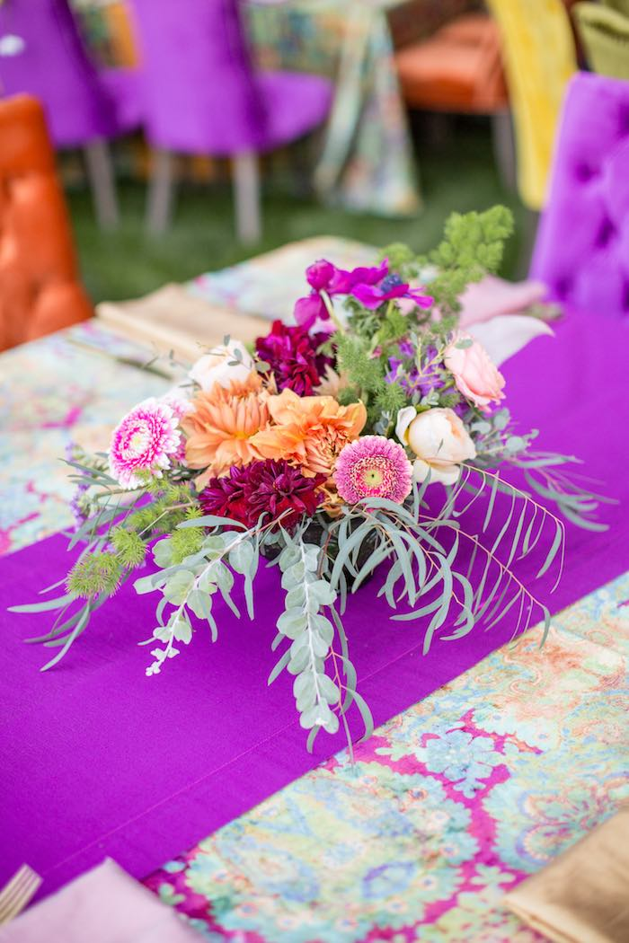 Boho-inspired Flower Arrangement + Centerpiece from Boho Hippie Summer of Love Birthday Party on Kara's Party Ideas | KarasPartyIdeas.com (26)