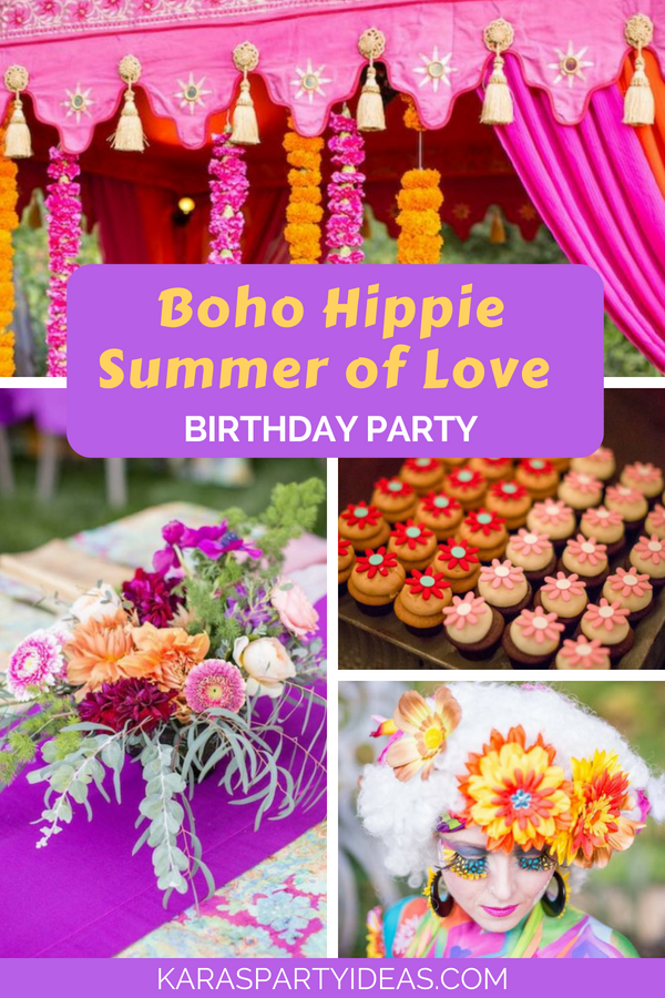 Boho Hippie Summer of Love Birthday Party via Kara's Party Ideas - KarasPartyIdeas.com