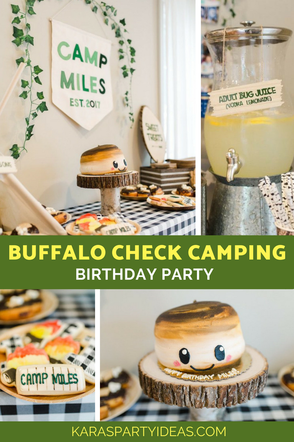 Buffalo Check Camping Birthday Party via Kara's Party Ideas - KarasPartyIdeas.com