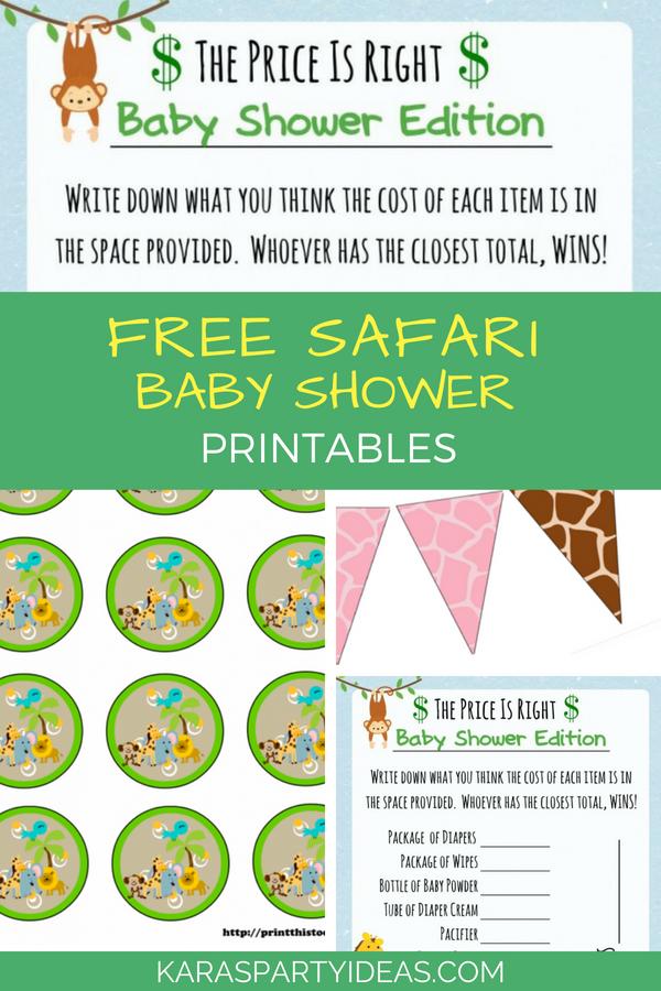 Safari Baby Shower Printables