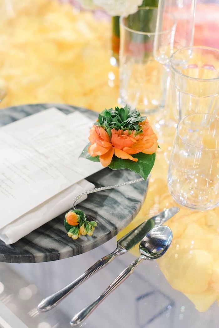 Flower-adorned Marble Charger Table Setting from a Floral Garden Dinner Party on Kara's Party Ideas | KarasPartyIdeas.com (25)