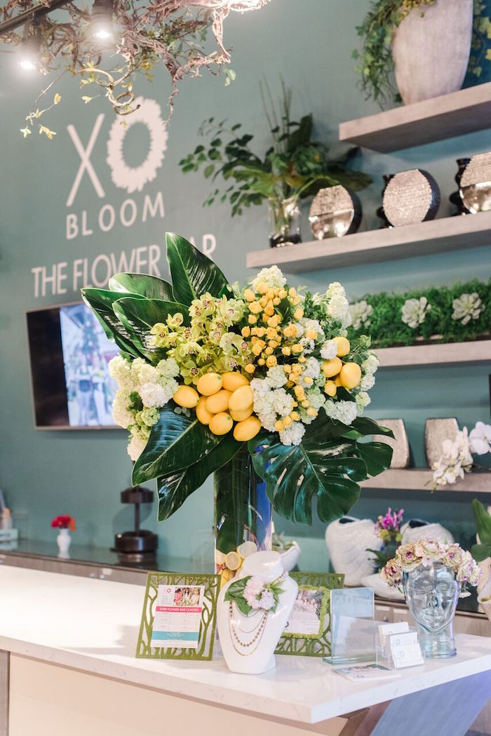 Lemon Bloom Welcome Table from a Floral Garden Dinner Party on Kara's Party Ideas | KarasPartyIdeas.com (17)