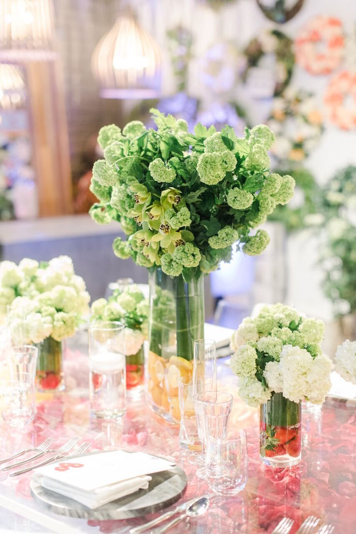 Green Bloom Centerpiece from a Floral Garden Dinner Party on Kara's Party Ideas | KarasPartyIdeas.com (33)