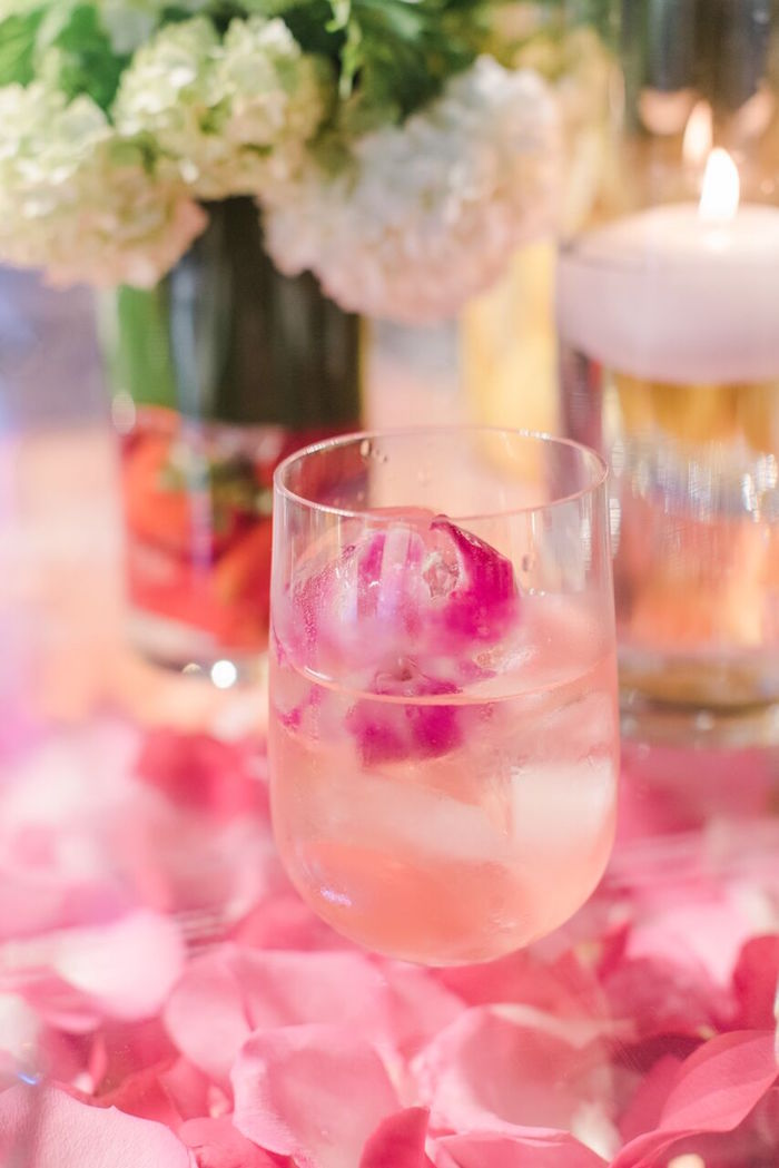 Summer Drink with Pink Flower Ice Cubes from a Floral Garden Dinner Party on Kara's Party Ideas | KarasPartyIdeas.com (31)