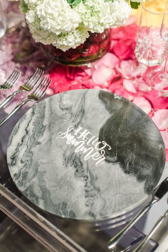 Hello Summer-scripted Marble Charger from a Floral Garden Dinner Party on Kara's Party Ideas | KarasPartyIdeas.com (30)