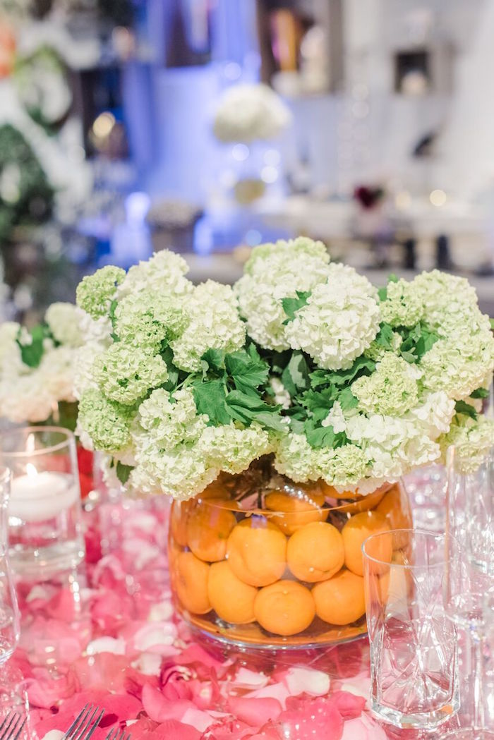 Fruit-filled Flower Centerpiece from a Floral Garden Dinner Party on Kara's Party Ideas | KarasPartyIdeas.com (29)