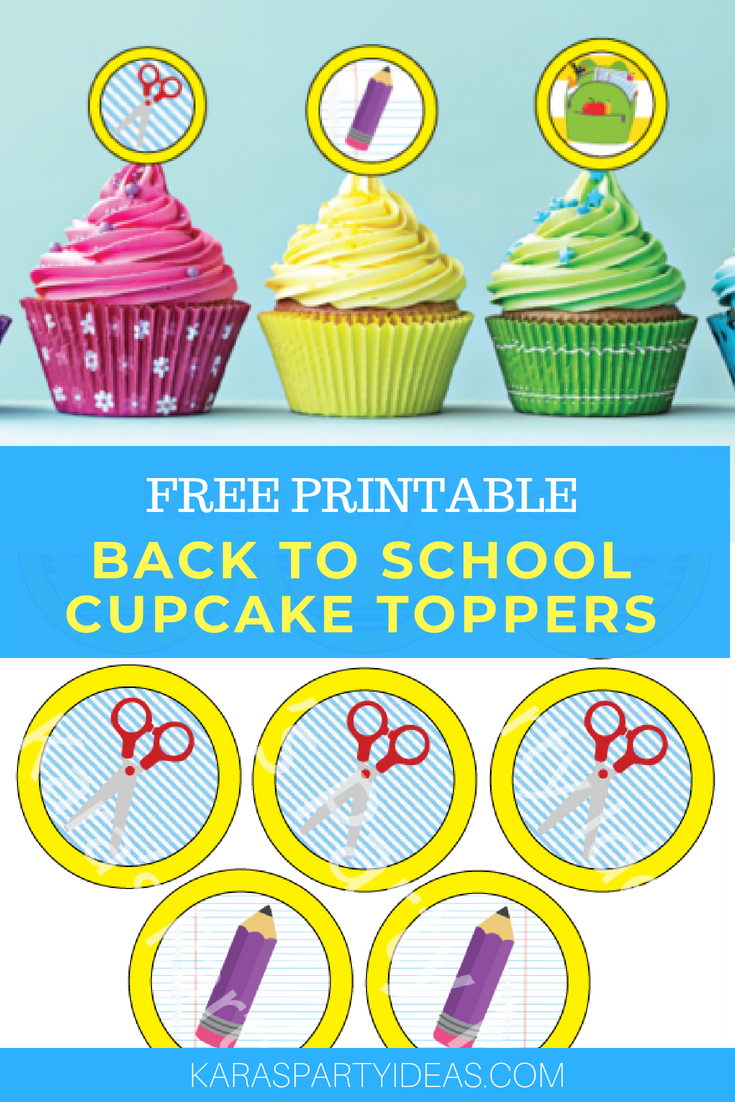 Free Printable Back to School Cupcake Toppers via Kara_s Party Ideas - KarasPartyIdeas.com