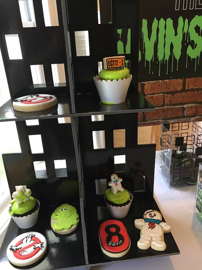 Ghostbusters Cookies + Cupcakes on a Cityscape Dessert Shelf from a Ghostbusters Birthday Party on Kara's Party Ideas | KarasPartyIdeas.com (6)