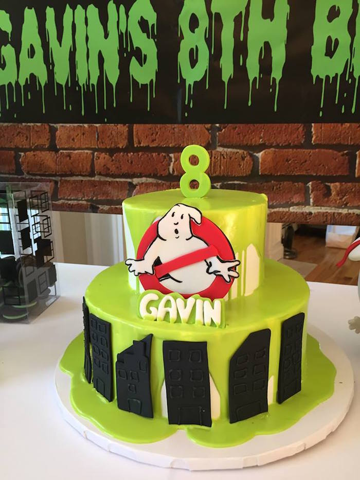 Ghostbusters Cake from a Ghostbusters Birthday Party on Kara's Party Ideas | KarasPartyIdeas.com (5)