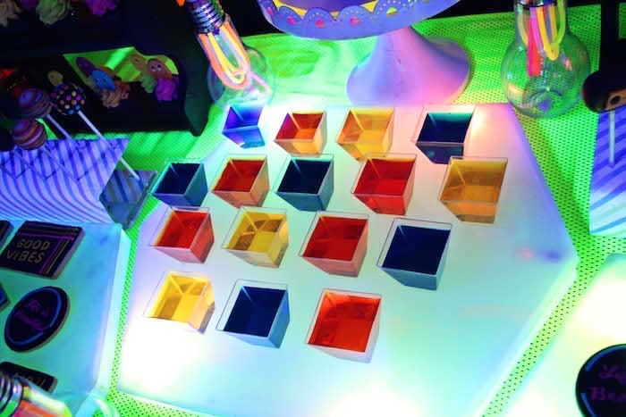 Rainbow Jello Cups from a Glow-in-the-Dark Birthday Party on Kara's Party Ideas | KarasPartyIdeas.com (13)