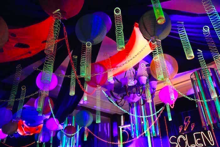 Glow in the Dark Slinky Ceiling from a Glow-in-the-Dark Birthday Party on Kara's Party Ideas | KarasPartyIdeas.com (21)