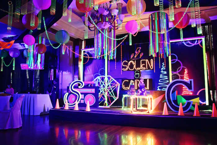 Glow in the Dark Stage + Dessert Display from a Glow-in-the-Dark Birthday Party on Kara's Party Ideas | KarasPartyIdeas.com (17)