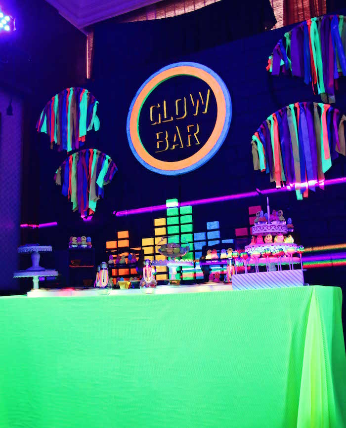 Glow Bar Dessert Table from a Glow-in-the-Dark Birthday Party on Kara's Party Ideas | KarasPartyIdeas.com (15)