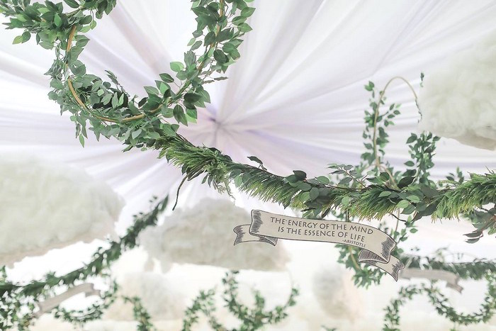 Greek Themed Greenery Garland + Signage from a Greek Inspired Birthday Party on Kara's Party Ideas | KarasPartyIdeas.com (10)