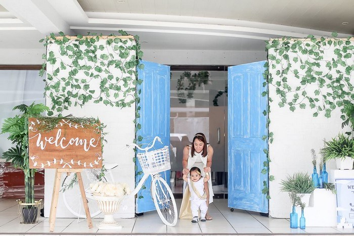 Greek Party Entrance from a Greek Inspired Birthday Party on Kara's Party Ideas | KarasPartyIdeas.com (21)