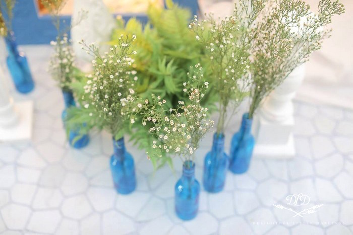 Blue Bottle Blooms from a Greek Inspired Birthday Party on Kara's Party Ideas | KarasPartyIdeas.com (16)