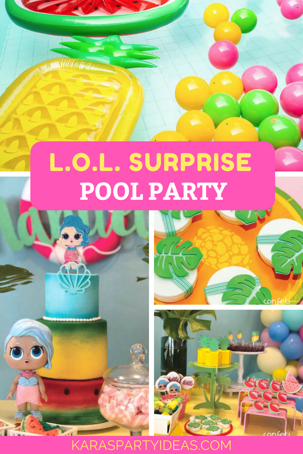 L.O.L. Surprise! Pool Party via Kara_s Party Ideas - KarasPartyIdeas.com