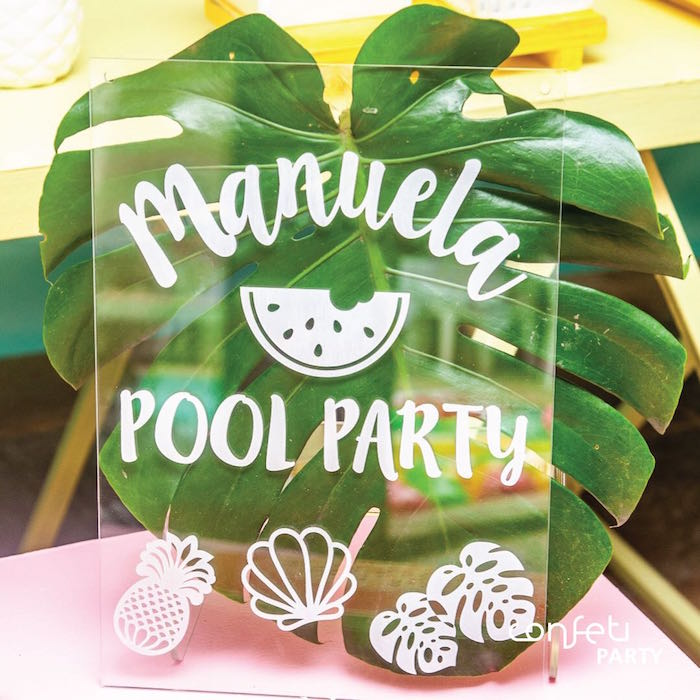 Acrylic Pool Party Sign from a L.O.L. Surprise! Pool Party on Kara's Party Ideas | KarasPartyIdeas.com (6)