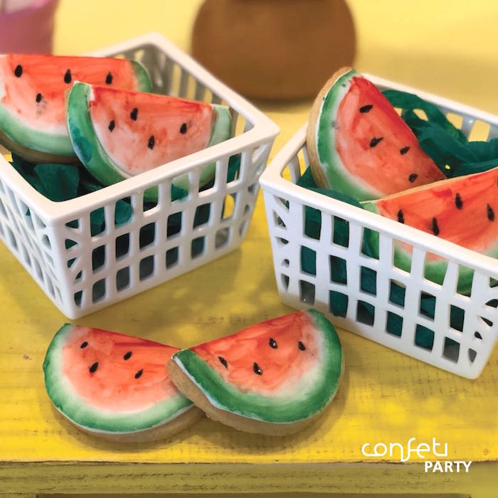 Watermelon Sugar Cookies from a L.O.L. Surprise! Pool Party on Kara's Party Ideas | KarasPartyIdeas.com (13)